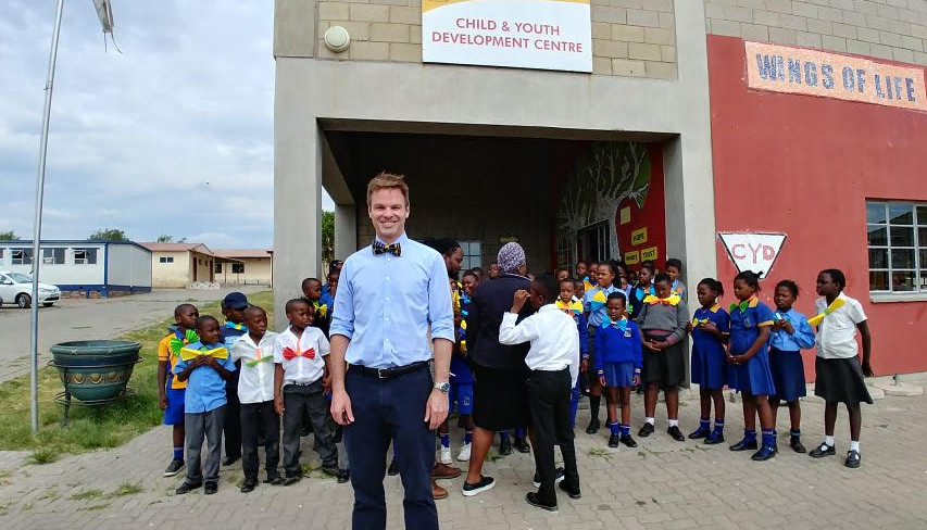 Chris and school kids from Wings of Life School.